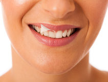 Clean healthy white teeth of smiling happy woman. Stock Photography