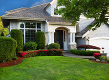 Clean Home and Landscape. Clean exterior and landscape of residential home Stock Photo