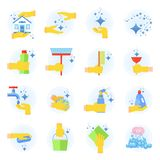 Clean icon set. Clean flat vector icons set. Collection of cleaning tools in hand. Housework supplies packaging, colorful domestic clean hygiene kitchenware Royalty Free Stock Photo