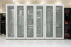 Clean industrial interior of a server room Royalty Free Stock Photos