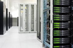 Clean industrial interior of a server room. With servers royalty free stock photos