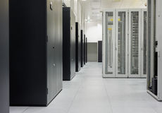 Clean industrial interior of a server room Royalty Free Stock Images