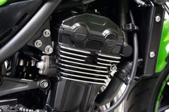 Clean inline Four Motorcycle Engine, Big Street Cafe Bike with Full Horsepower stock images