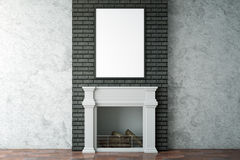 Clean interior with fireplace and frame. Clean interior with fireplace and blank picture frame. Mock up, 3D Rendering Royalty Free Stock Photography