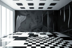 Clean interior. Clean glossy interior with patterned walls, floor and ceiling. 3D Rendering Stock Photo