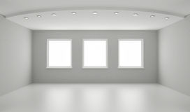 Clean interior, new white room. Clipping path for windows included Royalty Free Stock Image