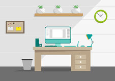Clean Interior office concept with computer and household tools. Editable Clip Art. Royalty Free Stock Photography