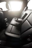 Clean interior of pickup. With leather black seat and isolated windows Stock Photo