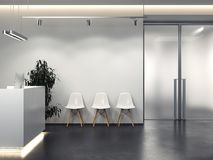 Clean interior with reception and row of chairs. 3d rendering Stock Images