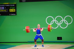 Clean and Jerk by Yoelmis Hernandez at Rio2016 Royalty Free Stock Photo
