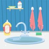 Clean kitchen sink. Housework. Flat cartoon style vector illustration.  stock illustration