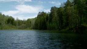 A clean lake surrounded by forest. Bright sunny day stock video footage