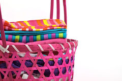 Clean laundry in a fancy basket closeup Stock Photo