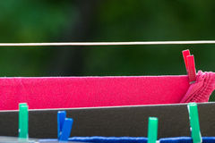 Clean laundry hanging to dry on line outdoor Royalty Free Stock Photos