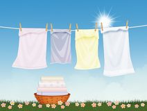 Clean laundry lying in the sun. Illustration of clean laundry lying in the sun vector illustration