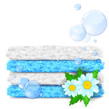 Clean laundry. Stack of clean towels with flowers and soap bubbles royalty free illustration