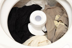 Clean Laundry in a Washing Machine Stock Photo