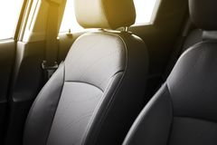 Clean Leather Car Interior. Closeup Photo. Modern Vehicle Interior royalty free stock image