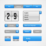 Clean Light Blue User Interface Controls. Web Elements. Website, Software UI: Buttons, Switchers, Arrows, Drop-down. Clean Light Blue User Interface Controls Royalty Free Stock Photo