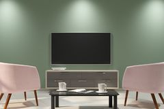 Clean light interior with empty TV Stock Photo