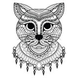 Clean lines doodle art of cute cat for coloring book for adult, cards, T- Shirt graphic and so on Royalty Free Stock Photos
