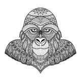 Clean lines doodle design of gorilla head for adult coloring pages and T- Shirt Graphic Stock Image