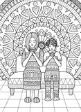 Clean lines doodle design of Mom and her son praying together , for adult coloring. Royalty Free Stock Photography
