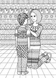 Clean lines doodle design of mom saying no to her son, design for adult coloring book Stock Images