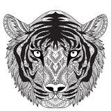 Clean lines doodle design of tiger face, for T-Shirt graphic, tattoo, coloring book for adult and so on -Stock  Royalty Free Stock Image