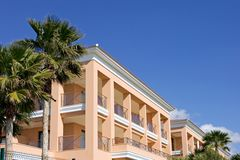 Clean lines of luxury hotel on Spanish beach Royalty Free Stock Photo