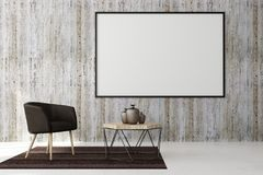 Clean living roo with empty poster. Clean living room interior with empty poster on concrete wall and furniture. Style and advertising concept. Mock up, 3D Royalty Free Stock Photos