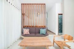 Clean living room and bedroom Villa minimalist design. Beautiful living room and Clean bedroom Villa minimalist design in Bali property Royalty Free Stock Image