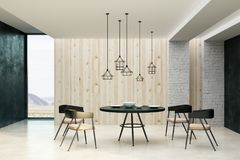 Clean living room interior. With decorative ceiling lamps, dining furniture, dishware and copy space on wall. Mock up, 3D Rendering Stock Image