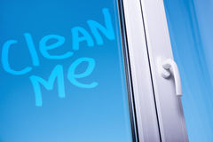 Clean me words on dirty window Royalty Free Stock Photos