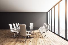 Clean meeting room. Interior with panoramic city view, furniture and daylight. 3D Rendering vector illustration