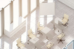 Clean meeting room top. Top view of clean meeting room with empty whiteboard stand, workplace and sunlight Mock up, 3D Rendering. Filtered image Royalty Free Stock Photography