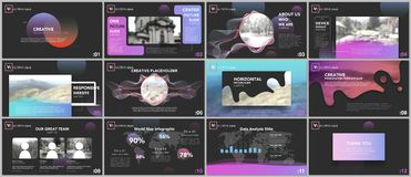 Clean and minimal presentation templates. Colorful elements on black background for your portfolio. Brochure cover vector design. Presentation slides for flyer Royalty Free Stock Images