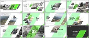 Clean and minimal presentation templates. Green elements on a white background. Brochure cover vector design. Presentation slides royalty free illustration