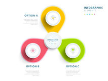 Clean minimalistic business 3 step process chart infographics wi. Th step circles. Bright corporate graphic elements. Company presentation slide template. Modern royalty free illustration