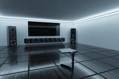 3D rendering. Minimalistic interior. Listening room. Clean minimalistic interior. Listening room with big speakers Royalty Free Stock Photo