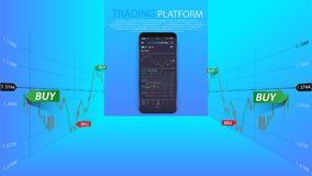 Clean Mobile UI Design Concept. Trendy Mobile Banking. Cryptocurrency Technology. Bitcoin Exchange. Financial analytics. Trading Business Application Template Royalty Free Stock Photo