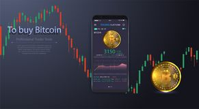 Clean Mobile UI Design Concept. Trendy Mobile Banking. Cryptocurrency Technology. Bitcoin Exchange. Financial analytics. Trading. Business Application Template Royalty Free Stock Photos