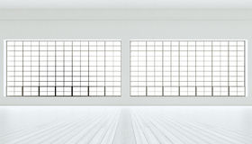 Clean modern industrial expo room huge panoramic windows,painted white wood floor,blank walls.3D rendering.Generic. Design interior contemporary building.Open royalty free illustration