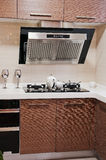 Clean Modern Kitchen. A Clean White brown Modern Kitchen stock images