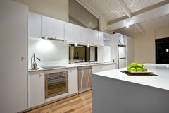 Clean Modern Kitchen. A Clean White Modern Kitchen Royalty Free Stock Photo