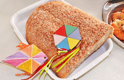 Clean Monday lagana bread and decorative kites Royalty Free Stock Photos