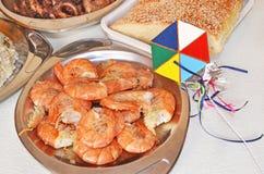 Clean Monday lenten food - roasted shrimps Royalty Free Stock Photos
