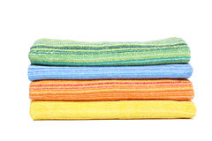 Clean multicolor towels. On a white background Stock Image