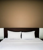 Clean and neat bed. In concept of pleasure stay and good night Royalty Free Stock Photo