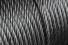 Clean new steel cable steel wire or steel rope, rope sling drum Stock Photography